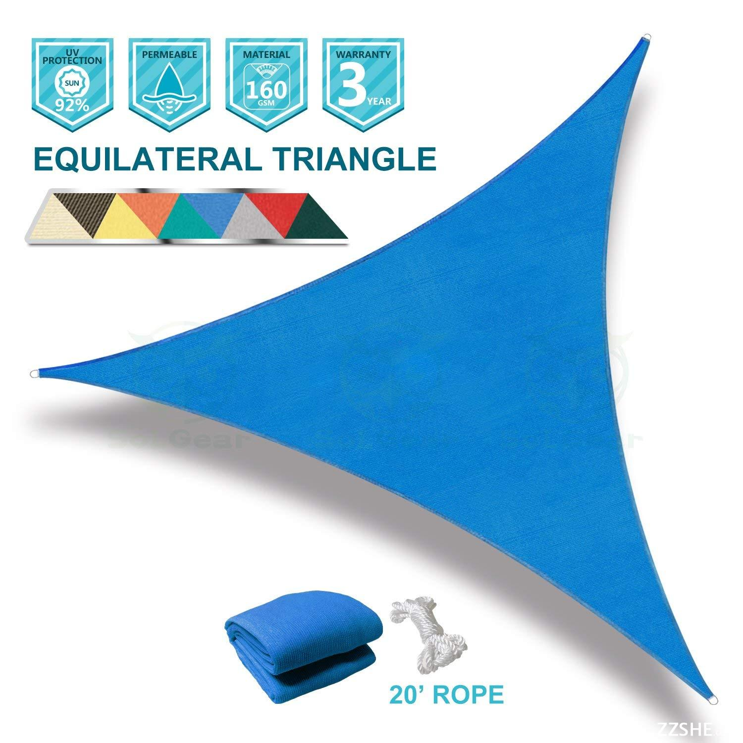 Coarbor 12'x12'x12' Triangle Blue UV Block Sun Shade Sail Perfect for Patio Outdoor Garden