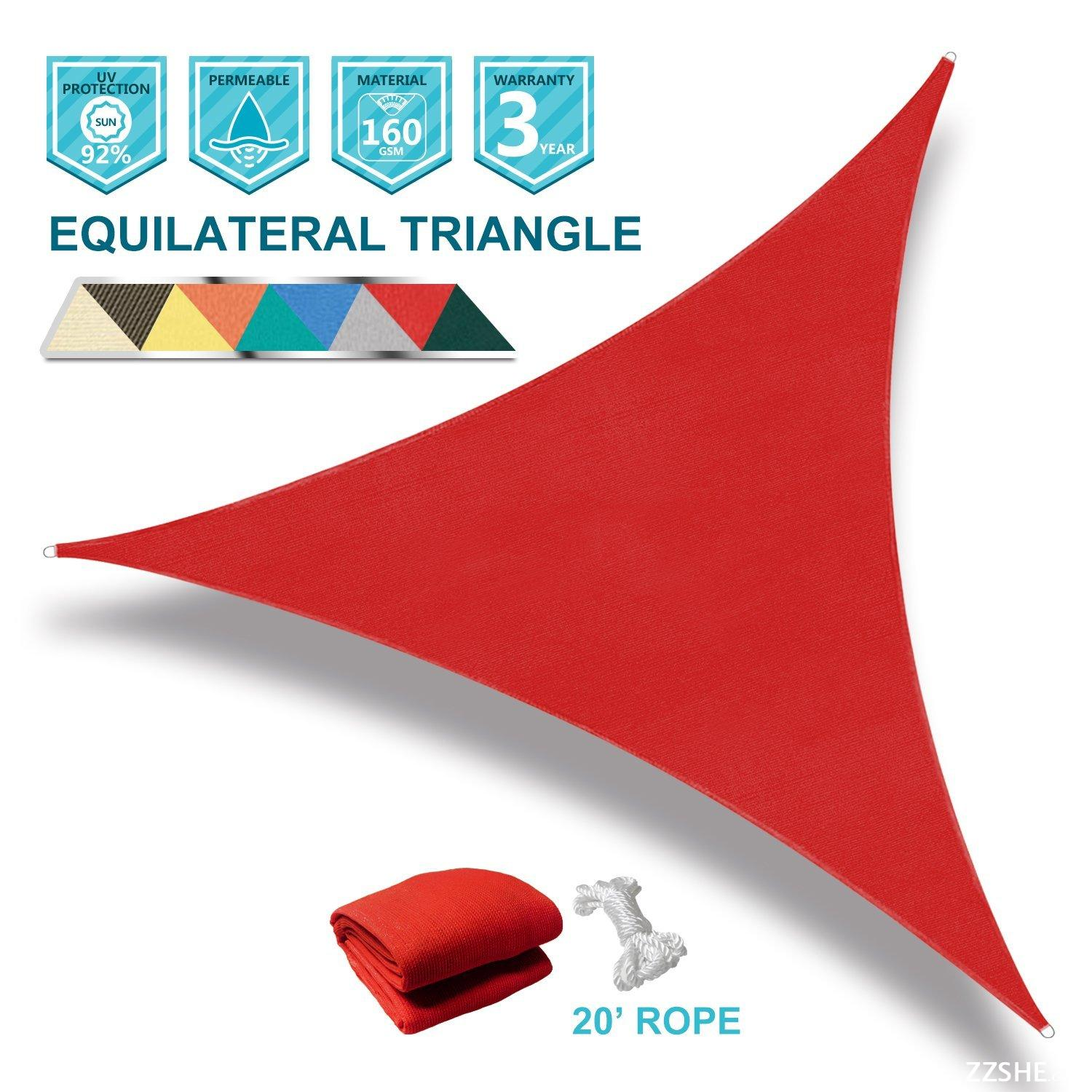 Coarbor 16' x 16' x 16' Triangle Red UV Block Sun Shade Sail Perfect for Patio Outdoor Garden