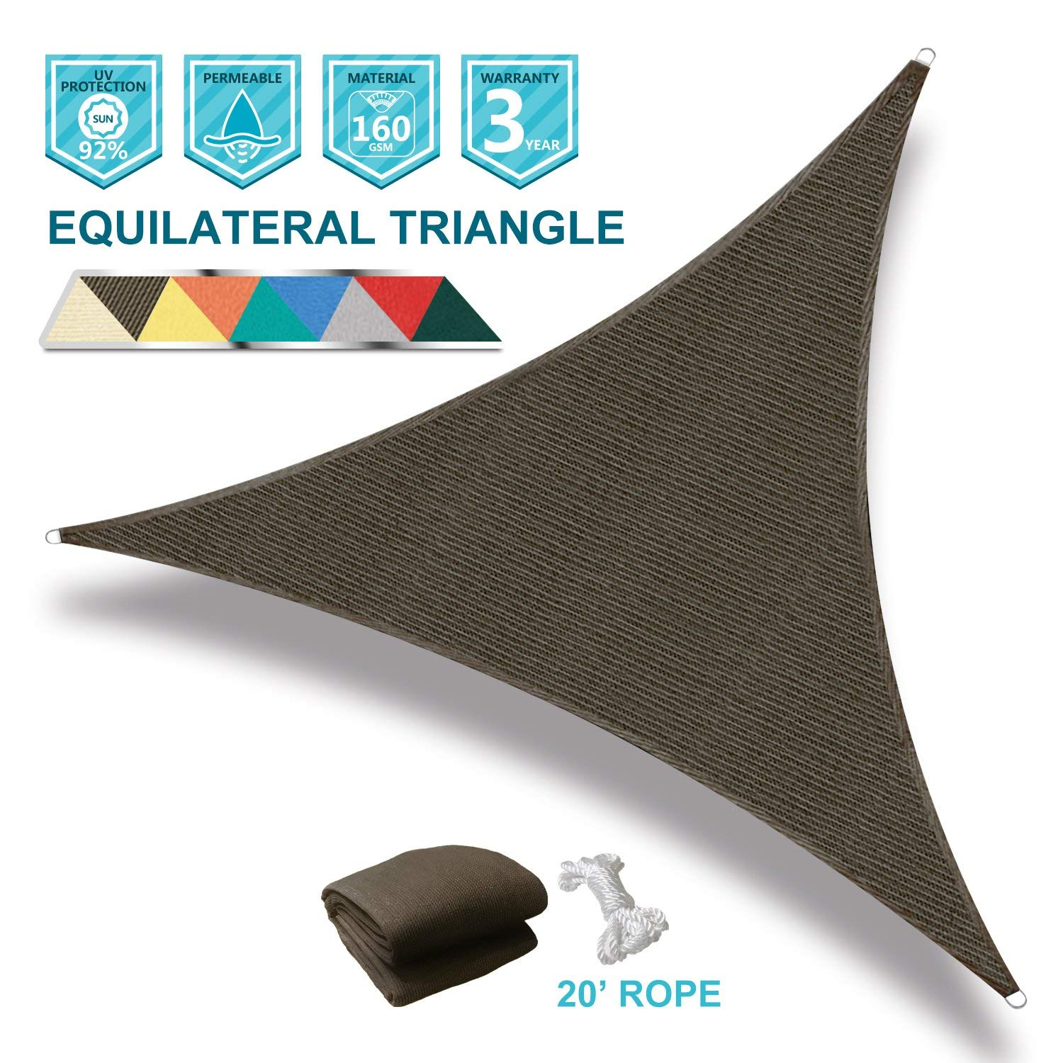 Coarbor 16' x 16' x 16' Triangle Brown UV Block Sun Shade Sail Perfect for Patio Outdoor Garden