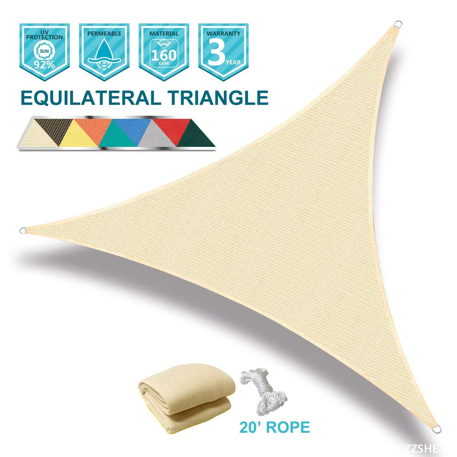 Coarbor 16' x 16' x 16' Triangle Beige UV Block Sun Shade Sail Perfect for Patio Outdoor Garden