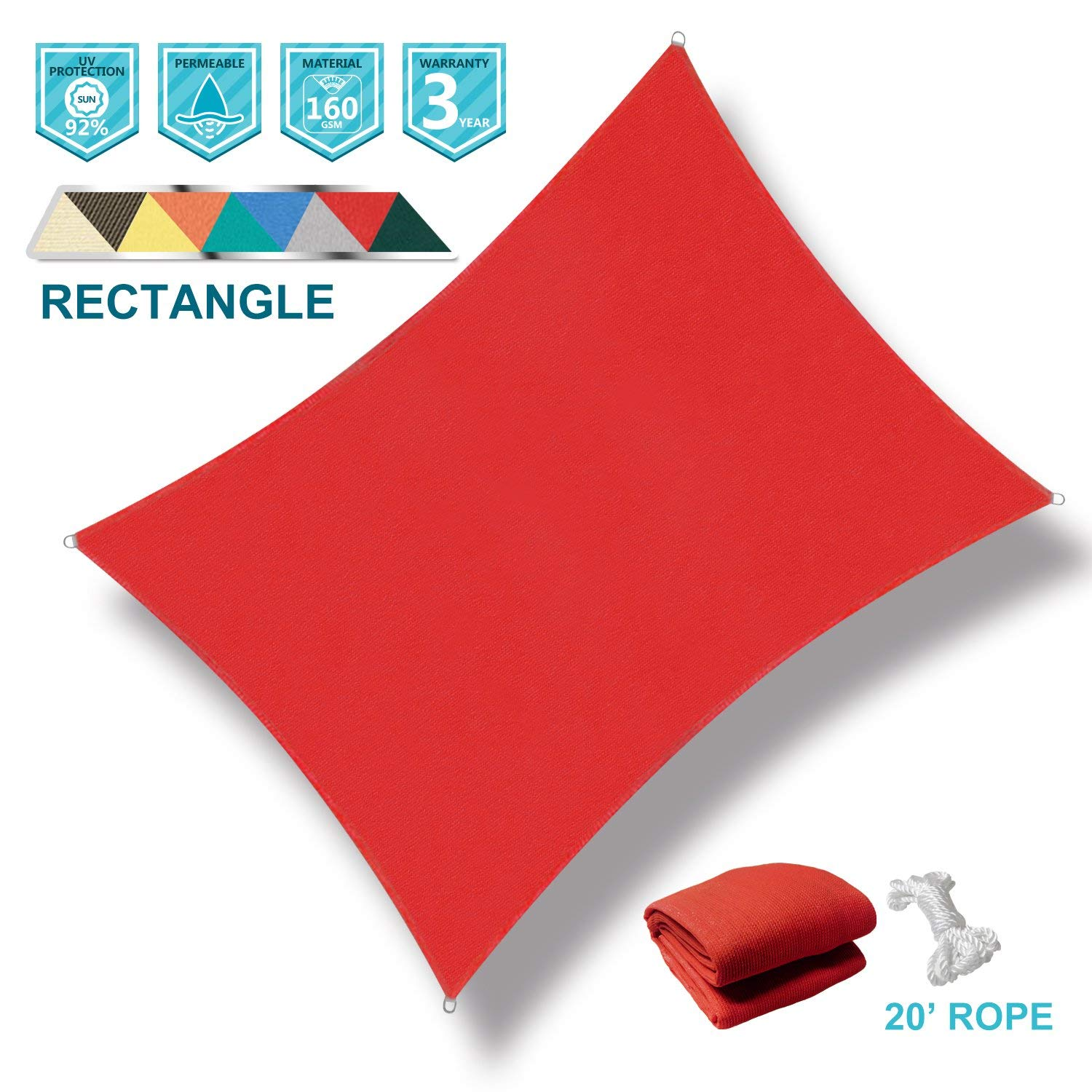 Coarbor 12' x 16' Rectangle Red UV Block Sun Shade Sail Perfect for Patio Outdoor Garden